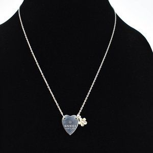 GUCCI Sterling Silver Heart & Flower Necklace (om)